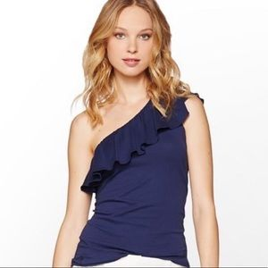 Lilly Pulitzer Neveah Navy Blue one shoulder top